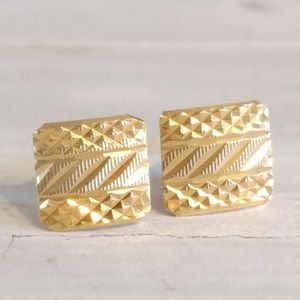 Jewelry - Modernist 14k Yellow Gold Abstract Stud Earrings